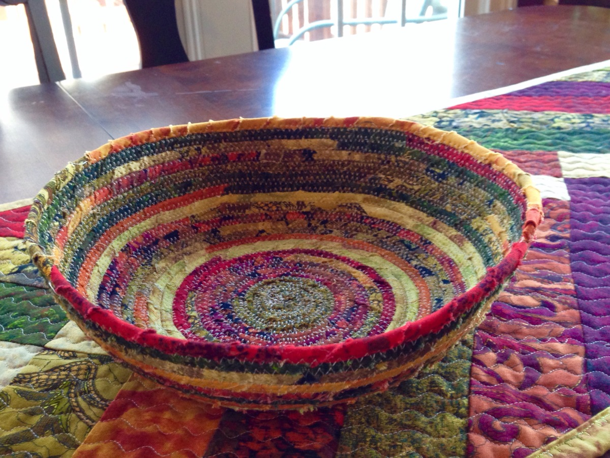 Corded fabric bowl from scraps